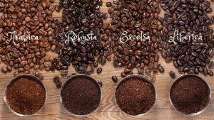 educational; visualize 4 coffee bean varieties