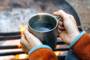 visualize coffee to go context: camping